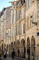Arcaded street, La Rochelle, Charente_Maritime, France, Europe