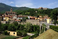 View of town and Fort Lagarde, Prats_de_Mollo_de_Preste, Languedoc_Roussillon, France, Europe