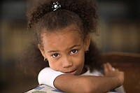 Girl in cafe, Havana, Cuba, West Indies, Central America