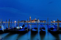 Venetian Gondolas bobbing in the night