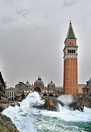 Fantastic recreation of the Plaza San Marco in Venice hit by a severe storm with large waves coming to the center of the plaza, Italy