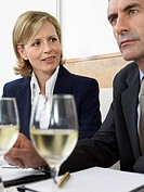 Businesspeople with wine in restaurant