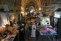 Muslim women at a market in the old city section of Jerusalem
