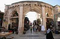 A gate at a market in the old city section of Jerusalem