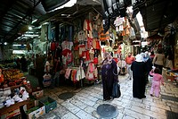 Clothes for sale at a market in the old city section of Jerusalem