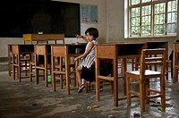 Chinese child in a rural school