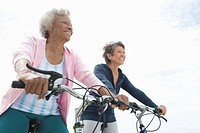 Senior women on cycle ride
