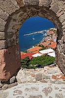 View over Molyvos Harbour, Lesvos , Mithymna  from Castle, Greece