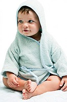 Baby boy in hooded towel