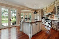 Kitchen in luxury home with golf course view
