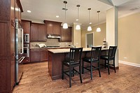 Kitchen in luxury townhome with breakfast bar