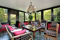 Porch in luxury home with black trim