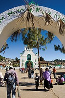 San Juan Bautista church. San Juan Chamula.(indian villaje). Near San Cristobal de las Casas. Chiapas State. Mexico.