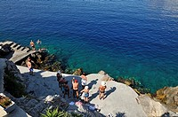 'Spilia' swimming area, Hydra island, Greece