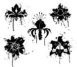 Grunge paint flower, element for design, vector