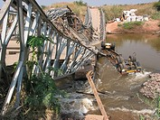 Bridge destroyed in Angola during the war  Feeding centres and other humanitarian aid were organised in Angola after widescale malnutrition during and...
