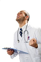 healthcare and medicine: young doctor expressing positivity