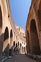 Vertical view from the inside of the Colosseum in Rome, Italy. One of the most famous landmarks in the world
