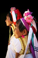 Profiles of two Longneck women  Approximately 300 Burmese refugees in Thailand are members of the indigenous group known as the Longnecks  The largest...
