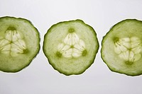 three cucumber rounds