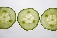three cucumber rounds