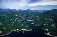Aerial view of Pender Harbour, Sunshine Coast, British Columbia, Canada