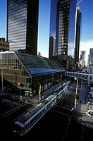 Light Rapid Transit passes 7th Ave SW, Calgary, Alberta, Canada