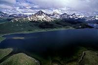Aerial of Amethyst Lakes, Jasper National Park, Alberta, Canada