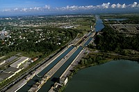 Aerial of Welland Canal, Ontario, Canada