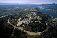 Aerial of Simon Fraser University, Burnaby, British Columbia, Canada