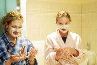 Two women with face masks