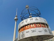 world time clock, behind the television tower, Alexanderplatz, Mitte, Berlin, Germany