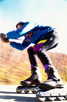 Low angle view of a person roller blading
