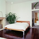 View of a bedroom with wooden floors and a potted plant