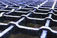Close_up of a metal grill