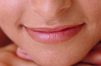 Close_up of a young woman's lips