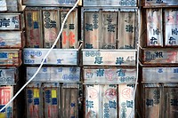 Japanese fish boxes in a port