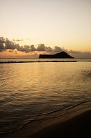 Hawaii, Oahu, View from Makapu´u, Rabbit island, dramatic sky at sunset.