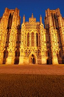 The floodlit West front of the Cathedral in the City of Wells at night, Somerset England
