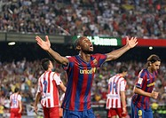 Barcelona, Camp Nou Stadium, 31/08/2009, Spanish League, FC Barcelona vs. Sporting de Gijón, Seydou Keita celebrates a goal