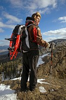 Snow shoe walking in the Bayerischer Wald, Germany.
