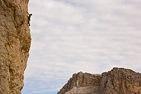 Climbing in the Dolomites near the Grodener and Selva Passes, Wolkenstein. Alto Adige, Italia