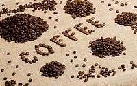 sign made of coffee beans