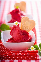 Strawberry sorbet with heart_shaped wafer