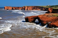 red cliffs at La Belle Anse, Ile du Cap aux Meules, Iles de la Madeleine, Madeleine Islands, Quebec Maritime, Canada, North America