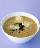 Lentil soup with Parmesan and oil