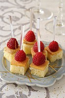 Brioche cubes with goose liver and raspberries Christmas