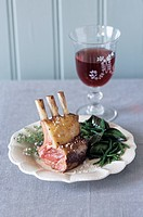 Lamb chops with sea salt and samphire