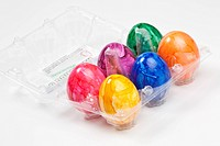 Colored Easter Egg in a transparent egg box