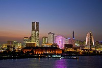 The skyline with the Landmark building in evening light, Yokohama city, Japan, Asia